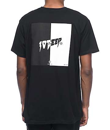 10 Deep Split Black T-Shirt
