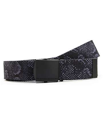 10 Deep Standard Issue Black Snake Print Web Belt