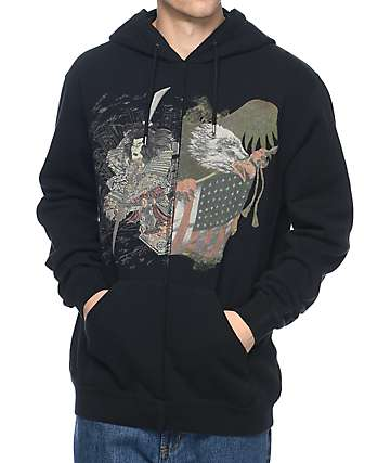 10 Deep Washinosenshi Split Black Pull Over Hoodie