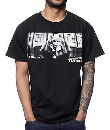 2Pac 2 Birds Black T-Shirt