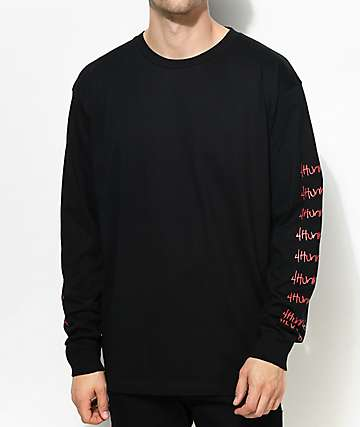 4 Hunnid Hit Up Arms Black Long Sleeve T-Shirt