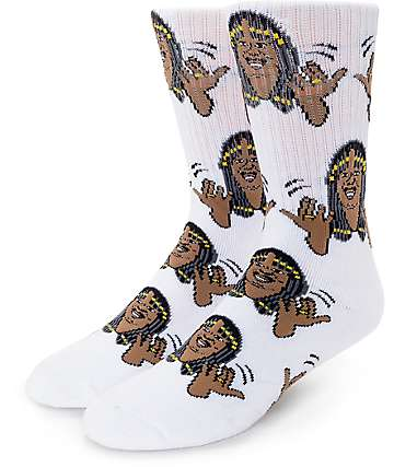 40's &  Shories Superfreak White Crew Socks
