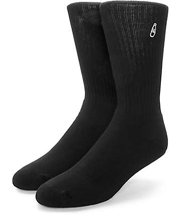 40's & Shorties Basic Scribble Black Crew Pocket Socks