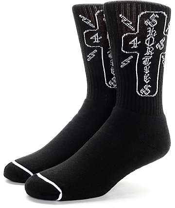 40's & Shorties Cross Black Crew Socks