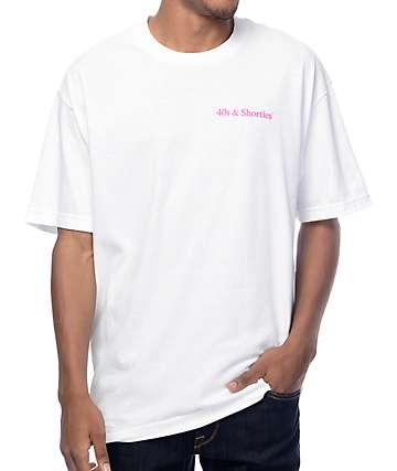 40s & Shorties Text Logo White T-Shirt