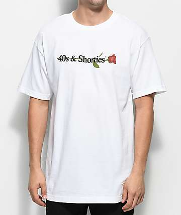 40s & Shorties 40s Text Logo Rose White T-Shirt