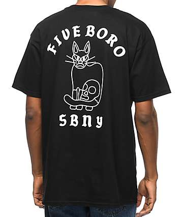 5Boro Cat & Skull Black T-Shirt