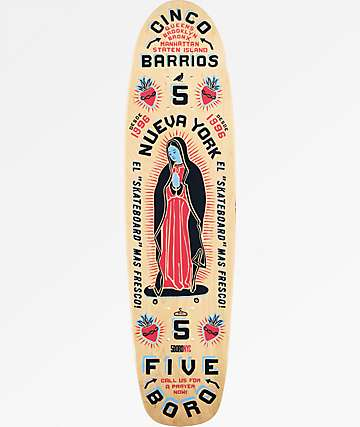 "5Boro Cinco Barrios 7.6"" Blue & Red Cruiser Skateboard Deck"