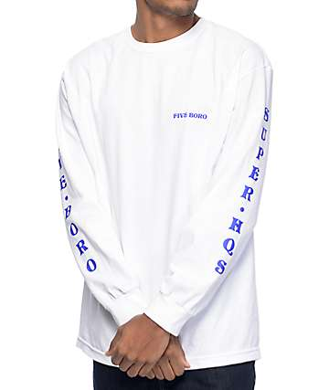 5Boro Dragon White Long Sleeve T-Shirt