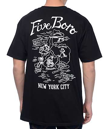 5Boro Souvenir Map Black T-Shirt