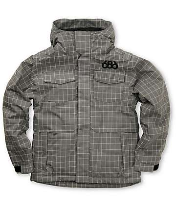 686 Boys Mannual Command Black Plaid Snowboard Jacket