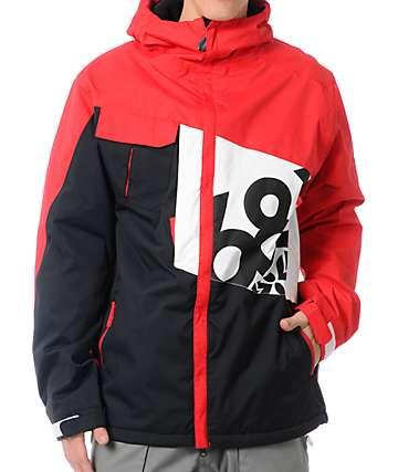 686 Iconic 8K Red Colorblock Snowboard Jacket