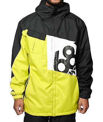 686 Mannual Iconic 8k Neon Green, Black & White 2014 Snowboard Jacket