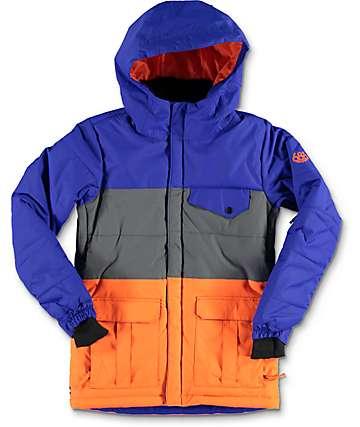686 Onyx 10K chaqueta de snowboard en color cobalto, gris y color naranja para niños