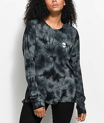 A-Lab Aby Alien Head Grey & Black Tie Dye Long Sleeve Shirt