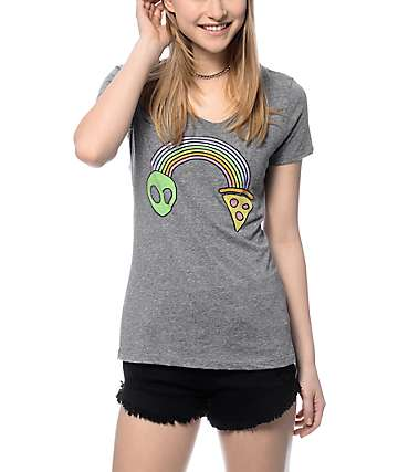 A-Lab Alien Pizza Rainbow Grey Scoop T-Shirt
