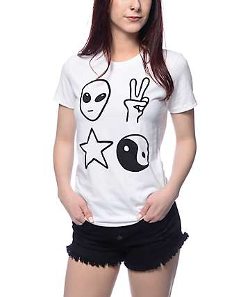 A-Lab Alien Yin Yang White T-Shirt