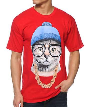 A-Lab Beanie Cat Red T-Shirt