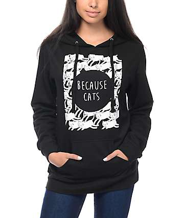 A-Lab Because Cats Black Hoodie