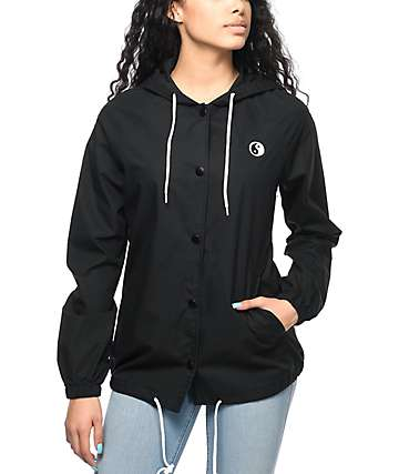 A-Lab Bobbi Yin Yang Black Canvas Hooded Coaches Jacket