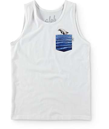 A-Lab Boys Dolphin Days White Pocket Tank Top