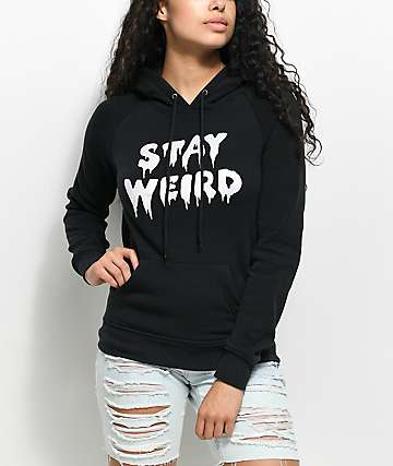 A-Lab Brealynn Stay Weird Iridescent Black Hoodie