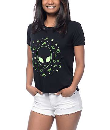 A-Lab Byrl Alien Black Ringer T-Shirt
