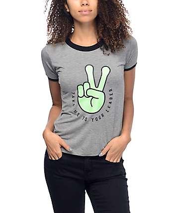 A-Lab Byrl Alien Peace camiseta ringer en gris