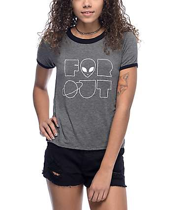 A-Lab Byrl Far Out Charcoal & Black Ringer T-Shirt
