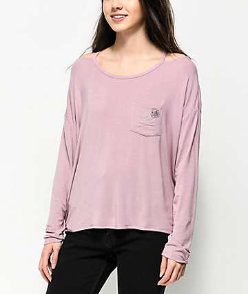 A-Lab Camden Cutout Mauve Long Sleeve Top