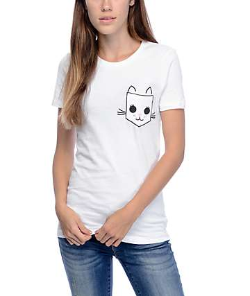 A-Lab Cat Face White Pocket T-Shirt