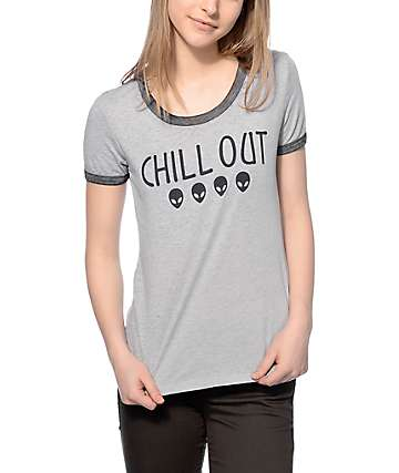 A-Lab Chill Out Alien Grey Ringer T-Shirt