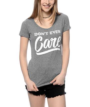 A-Lab Don't Even Care Grey Scoop T-Shirt