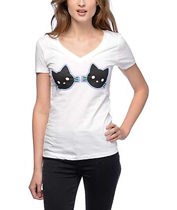 A-Lab Double Kitten V Neck White T-Shirt