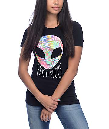 A-Lab Earth Sucks Alien Black T-Shirt