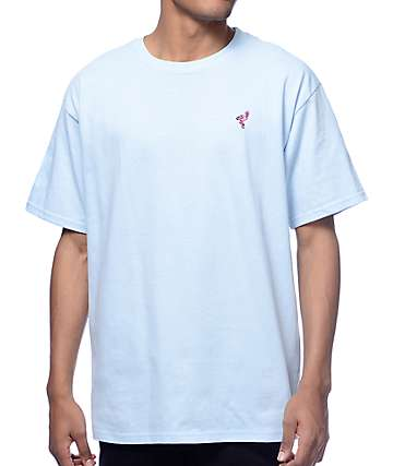A-Lab Flamingo Embroidered Powder Blue T-Shirt