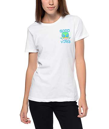 A-Lab Good Vibes Alien Boyfriend White T-Shirt