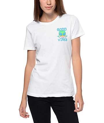 A-Lab Good Vibes camiseta Alien estilo boyfriend en blanco