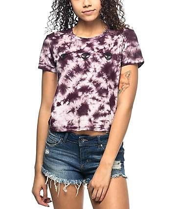 A-Lab Hana Aliens camiseta en color vino con efecto tie dye