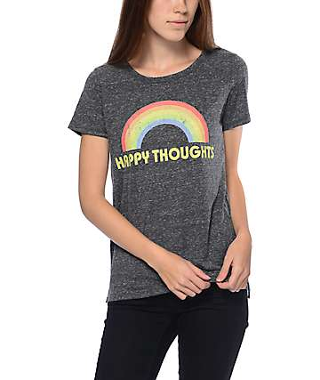 A-Lab Happy Thoughts Rainbow Charcoal T-Shirt