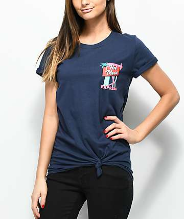 A-Lab Hot Mess Express Knot Front Navy T-Shirt