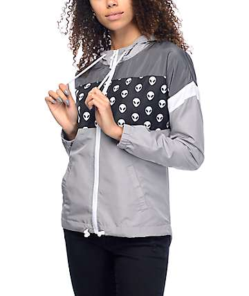 A-Lab Kadee Alien Black, Charcoal & Grey Windbreaker Jacket