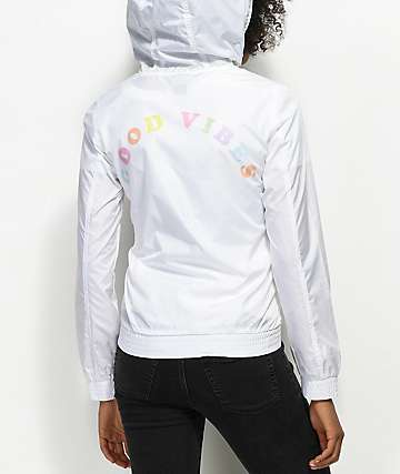 A-Lab Kenlie Good Vibes White Windbreaker Jacket