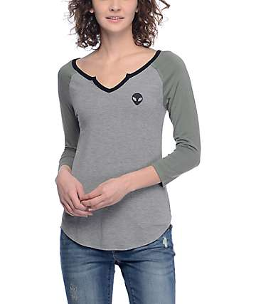 A-Lab Lyndana Alien Olive & Grey Baseball T-Shirt