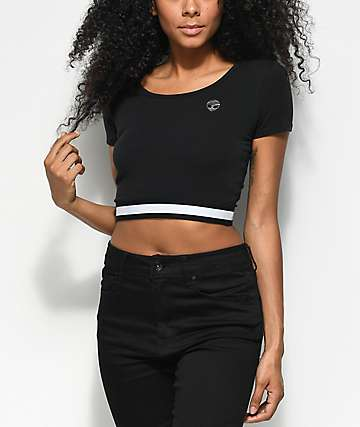 A-Lab Malorie Alien Black Crop Top