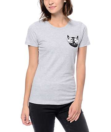 A-Lab Meow Glasses Grey Crew Neck T-Shirt