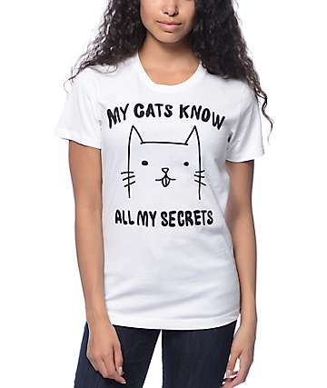 A-Lab My Cats Know White T-Shirt