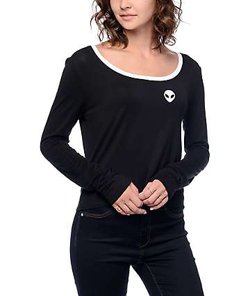 A-Lab Shosh Alien Black & White Long Sleeve Ringer T-Shirt