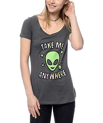 A-Lab Take Me Anywhere Grey Scoop T-Shirt