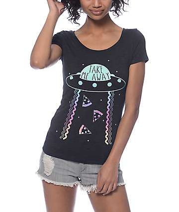 A-Lab Take Me Away Alien Scoop Neck T-Shirt